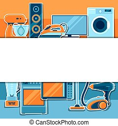 Background with home appliances. Household items for sale and shopping advertising poster