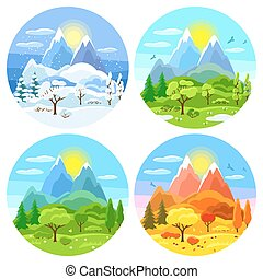 Four seasons landscape. Illustrations with trees, mountains and hills in winter, spring, summer, autumn.