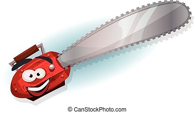 Cartoon Chainsaw Character - Illustration of a cartoon funny...