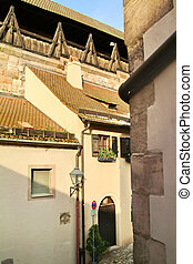 Mural of Nuremberg castle.The photo is made of a window of...