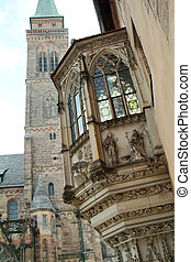 The church Saint Sebald in Nuremberg, street, bay, bay...