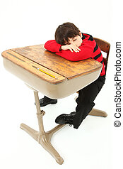 Student Child Sleeping Desk School - Adorable 7 year old boy...