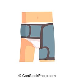 Injured femoral joint bandaged with blue plaster cartoon...