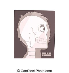 X ray image of a human skull cartoon vector Illustration