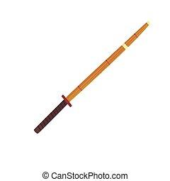 Shinai, bamboo sword, kendo equipment cartoon vector...