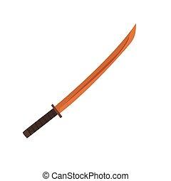 Wooden Japanese fencing sword, kendo equipment cartoon...