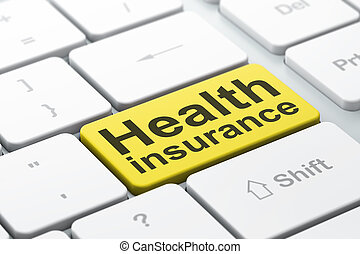 Insurance concept: Health Insurance on computer keyboard...