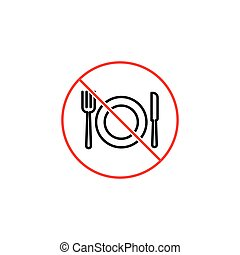 no food, eating prohibition sign on white background