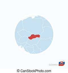 Map icon of Slovakia. Blue map of Europe with highlighted...