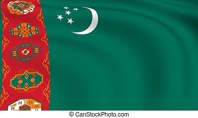 Flying Flag of TURKMENISTAN | LOOPED |