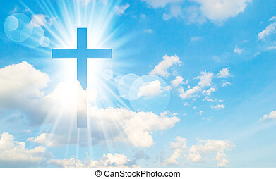 Christian cross appears bright in the sky