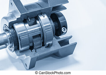 The planetary gear in transmission gear box show the inside...