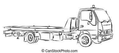 Sketch tow truck. - Sketch of a big city tow truck.