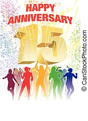 Fifteenth anniversary - Colorful crowd of dancing people...