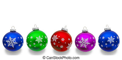 Christmas Ornaments - Colorful christmas balls isolated on a...