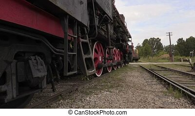 Railway employee step out of locomotive