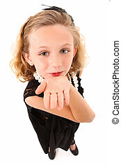 Dress Up - Adorable 7 year old girl in over sized dress and...