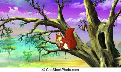 Cute Squirrel on a Tree UHD - Cute Eurasian Red Squirrel...