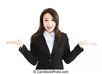 happy business woman raising her hands on both sides