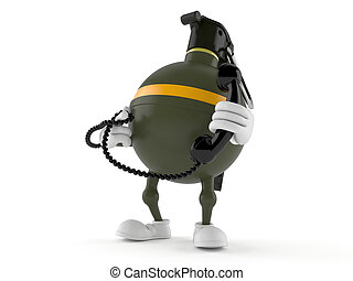 Hand grenade character holding a telephone handset