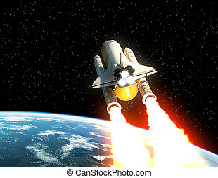 Space Shuttle Launch Above The Planet Earth
