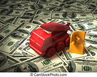 Red Radar And Missile System On The Money. 3D Illustration.