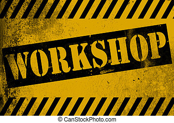 Workshop sign yellow with stripes, 3D rendering
