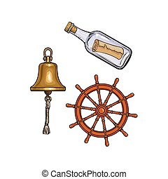 Ship bell, steering wheel and message in bottle - Set of...