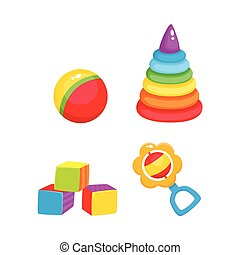 Vector toys. pyramid, cubics, ball and rattle toy