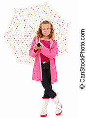 Umbrella Girl - Adorable 7 year old girl in rain gear and...