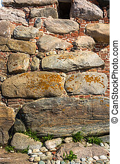The texture of the stone walls of the Solovetsky monastery....