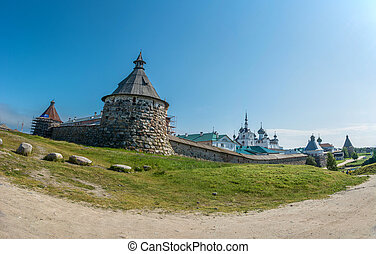 Panorama of the Spaso-Preobrazhensky Solovetsky monastery. -...