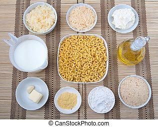 mac and cheese ingredients - prep bowls full of ingredients...