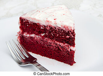 red velvet cake - one slice of red velvet cake on a white...