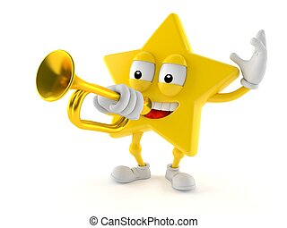 Star character playing the trumpet