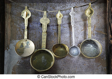 Household cooking - Antique handmade metal cooking utensils,...