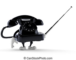 Telephone character holding pointer stick isolated on white...