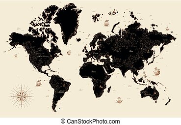 Decorative old map of the world
