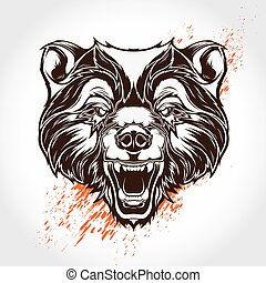 Vector tattoo bear