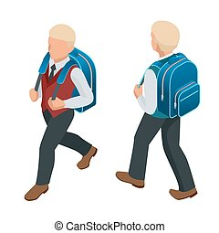 Isometric boy back to school concept. A student in school...