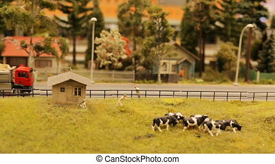 City cow farm toy truck nature