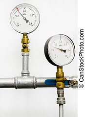 Manometers of water Heating system - Closeup of manometer,...