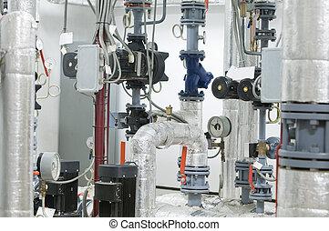 gas boiler room equipment - Modern boiler room equipment for...