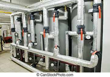 modern industrial boiler room - Interior of independent...
