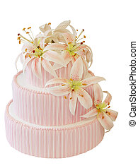 Three Tiered Iced Cake with Icing Orchid Decoration isolated...