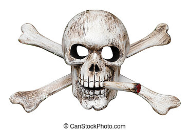 Skull and Cross Bones with Cigarette isolated with clipping...