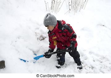 niño, palas, nieve
