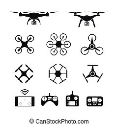 Set of aerial drone or quadcopter and remote control icons. Design for presentation, advertising, layout, pakaging and web design.