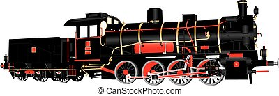 Eight Wheeled Loco - A Detailed vector illustration of Black...