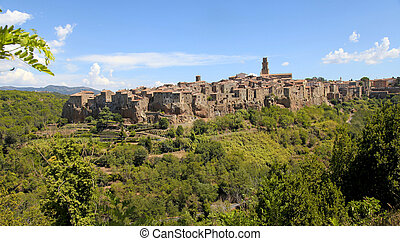Panoramic view of the medieval village Pitigliano, Tuscany,...